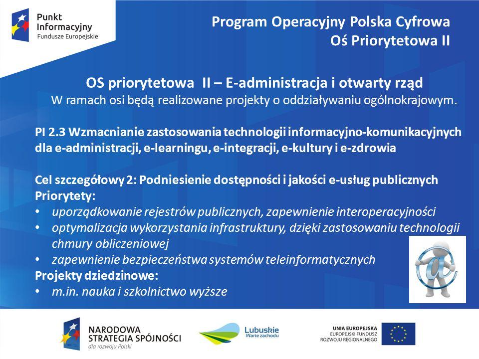 Program Operacyjny Polska Cyfrowa Oś Priorytetowa II OS priorytetowa II – E-administracja i otwarty rząd W ramach osi będą realizowane projekty o oddziaływaniu ogólnokrajowym.