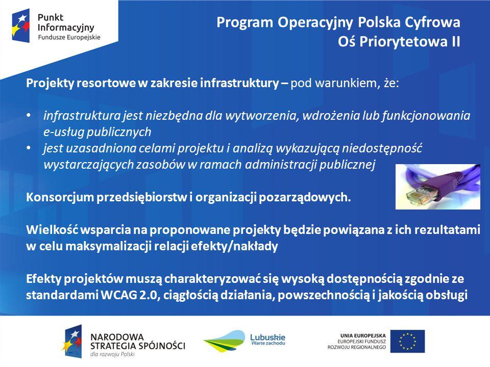 Program Operacyjny Polska Cyfrowa Oś Priorytetowa II Projekty resortowe w zakresie infrastruktury – pod warunkiem, że: infrastruktura jest niezbędna dla wytworzenia, wdrożenia lub funkcjonowania e-usług publicznych jest uzasadniona celami projektu i analizą wykazującą niedostępność wystarczających zasobów w ramach administracji publicznej Konsorcjum przedsiębiorstw i organizacji pozarządowych.