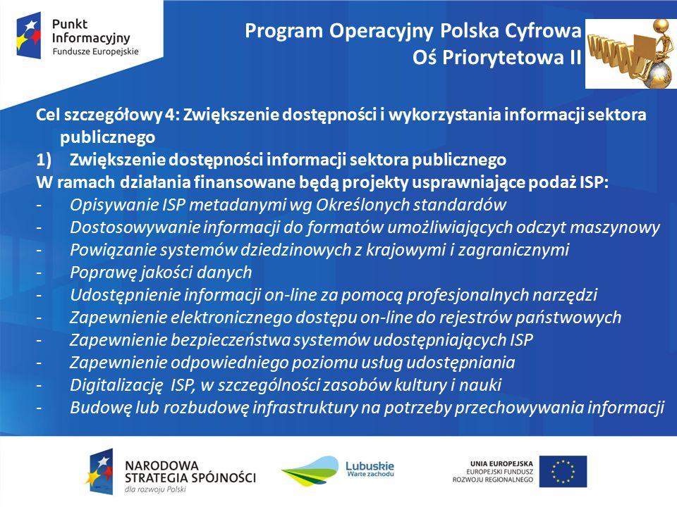 Program Operacyjny Polska Cyfrowa Oś Priorytetowa II Cel szczegółowy 4: Zwiększenie dostępności i wykorzystania informacji sektora publicznego 1)Zwiększenie dostępności informacji sektora publicznego W ramach działania finansowane będą projekty usprawniające podaż ISP: -Opisywanie ISP metadanymi wg Określonych standardów -Dostosowywanie informacji do formatów umożliwiających odczyt maszynowy -Powiązanie systemów dziedzinowych z krajowymi i zagranicznymi -Poprawę jakości danych -Udostępnienie informacji on-line za pomocą profesjonalnych narzędzi -Zapewnienie elektronicznego dostępu on-line do rejestrów państwowych -Zapewnienie bezpieczeństwa systemów udostępniających ISP -Zapewnienie odpowiedniego poziomu usług udostępniania -Digitalizację ISP, w szczególności zasobów kultury i nauki -Budowę lub rozbudowę infrastruktury na potrzeby przechowywania informacji
