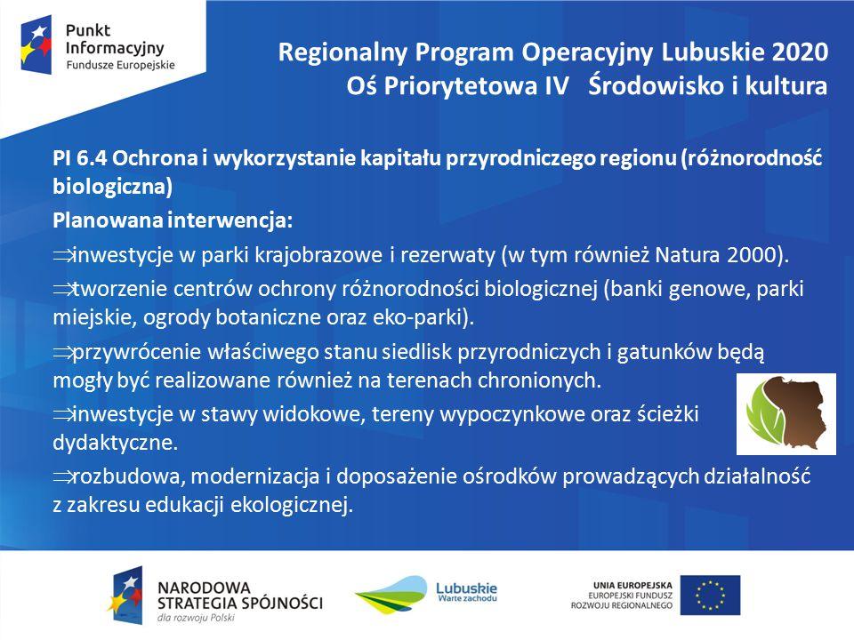 Regionalny Program Operacyjny Lubuskie 2020 Oś Priorytetowa IV Środowisko i kultura PI 6.4 Ochrona i wykorzystanie kapitału przyrodniczego regionu (różnorodność biologiczna) Planowana interwencja:  inwestycje w parki krajobrazowe i rezerwaty (w tym również Natura 2000).