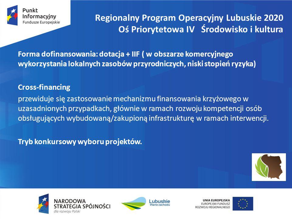 Regionalny Program Operacyjny Lubuskie 2020 Oś Priorytetowa IV Środowisko i kultura Forma dofinansowania: dotacja + IIF ( w obszarze komercyjnego wykorzystania lokalnych zasobów przyrodniczych, niski stopień ryzyka) Cross-financing przewiduje się zastosowanie mechanizmu finansowania krzyżowego w uzasadnionych przypadkach, głównie w ramach rozwoju kompetencji osób obsługujących wybudowaną/zakupioną infrastrukturę w ramach interwencji.