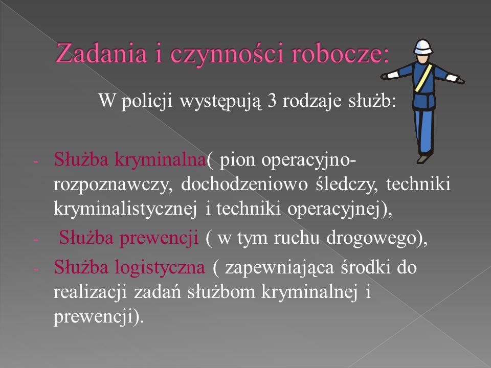 W policji występują 3 rodzaje służb: - Służba kryminalna( pion operacyjno- rozpoznawczy, dochodzeniowo śledczy, techniki kryminalistycznej i techniki