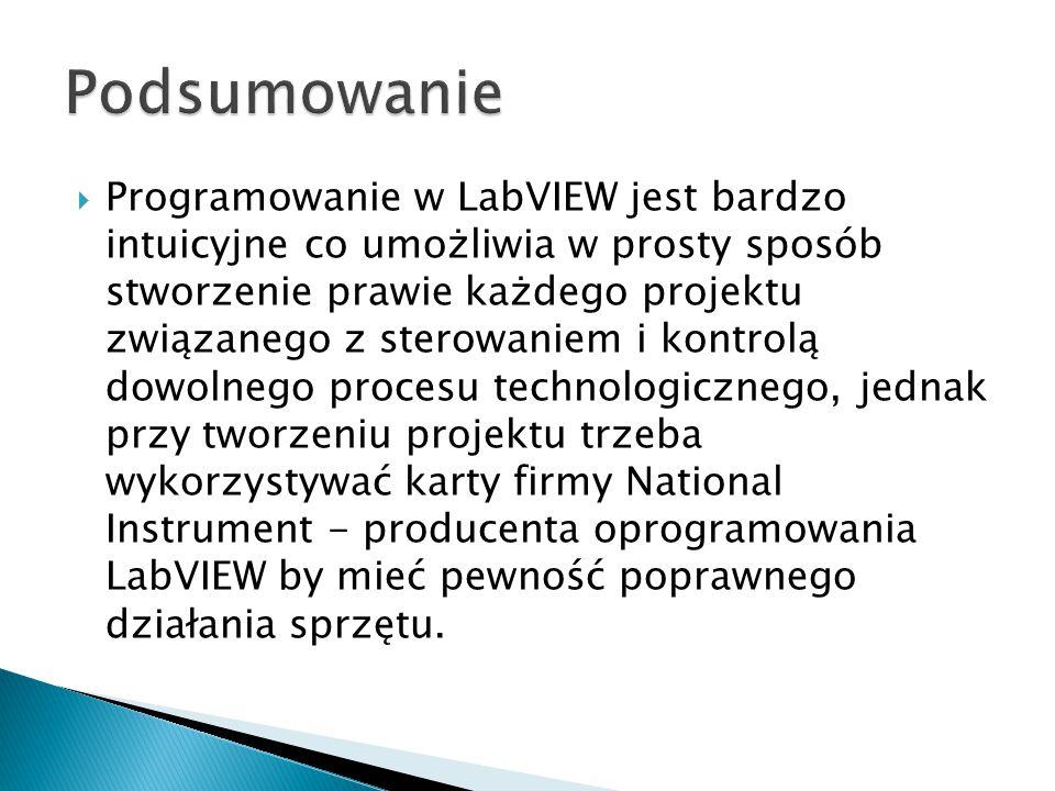  Programowanie w LabVIEW jest bardzo intuicyjne co umożliwia w prosty sposób stworzenie prawie każdego projektu związanego z sterowaniem i kontrolą d