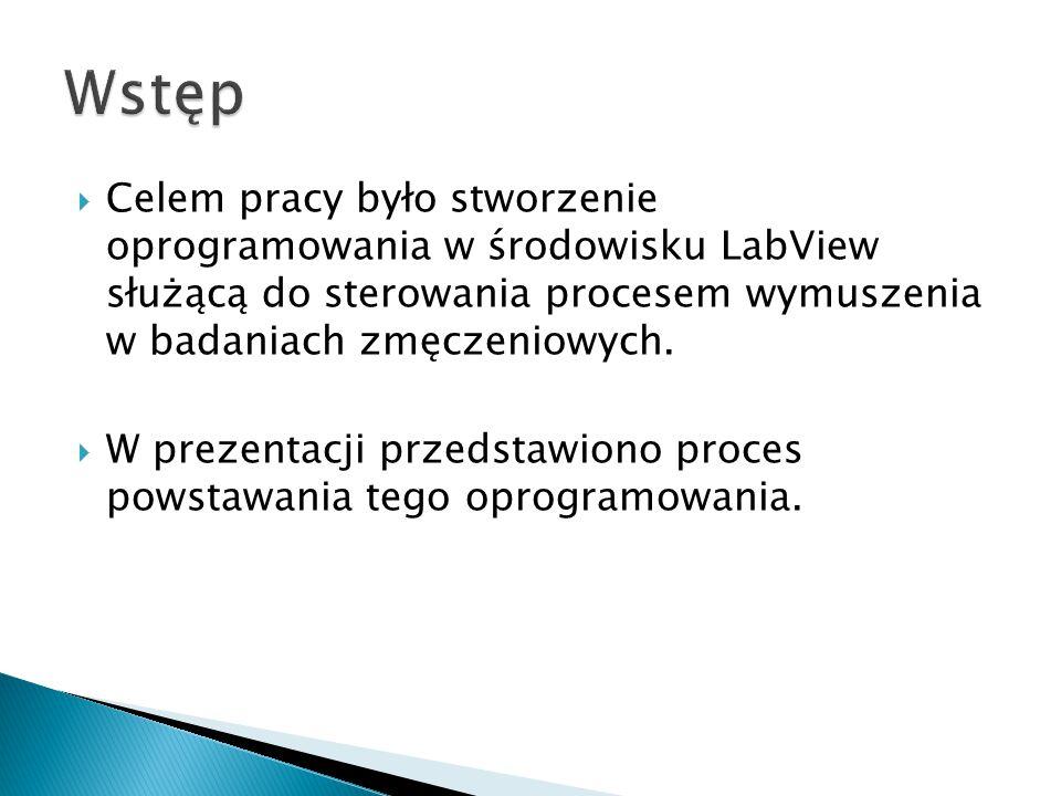  Celem pracy było stworzenie oprogramowania w środowisku LabView służącą do sterowania procesem wymuszenia w badaniach zmęczeniowych.  W prezentacji