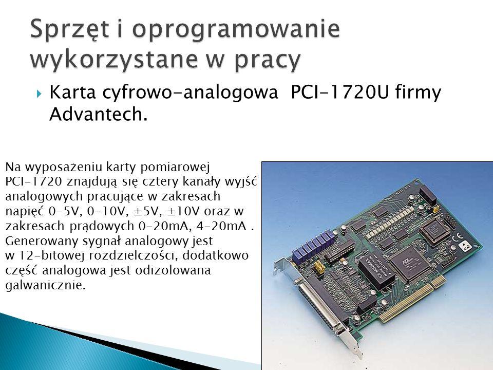  Karta cyfrowo-analogowa PCI-1720U firmy Advantech. Na wyposażeniu karty pomiarowej PCI-1720 znajdują się cztery kanały wyjść analogowych pracujące w