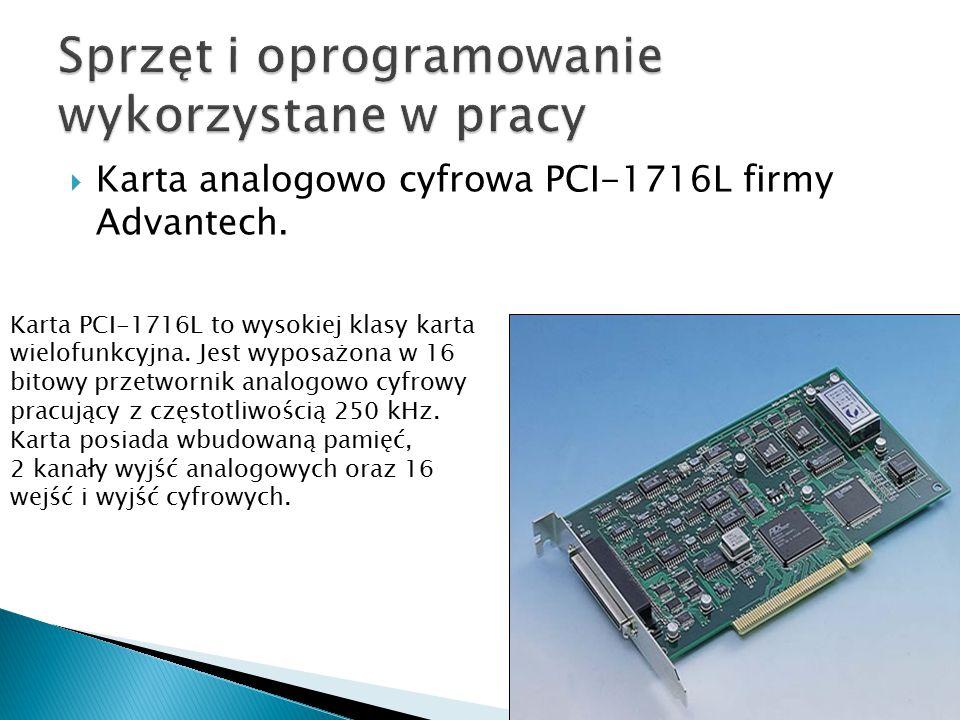 Karta analogowo cyfrowa PCI-1716L firmy Advantech. Karta PCI-1716L to wysokiej klasy karta wielofunkcyjna. Jest wyposażona w 16 bitowy przetwornik a