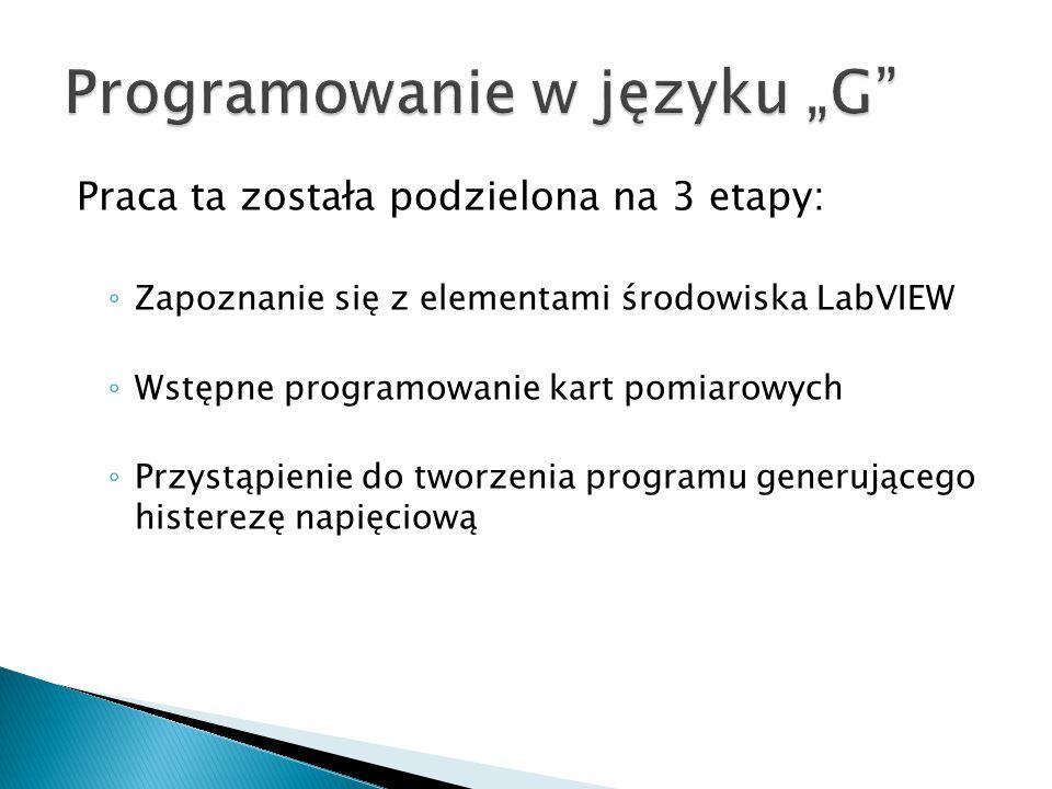 Praca ta została podzielona na 3 etapy: ◦ Zapoznanie się z elementami środowiska LabVIEW ◦ Wstępne programowanie kart pomiarowych ◦ Przystąpienie do t