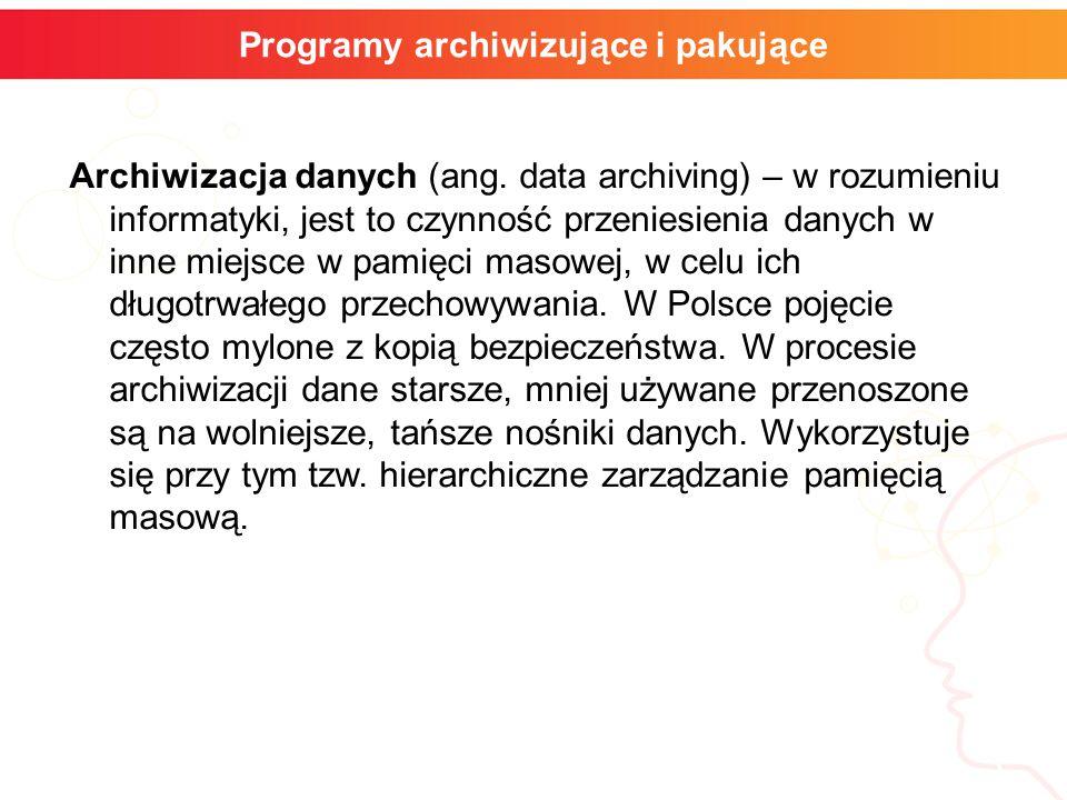 Archiwizacja danych (ang. data archiving) – w rozumieniu informatyki, jest to czynność przeniesienia danych w inne miejsce w pamięci masowej, w celu i