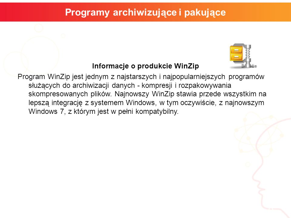informatyka + 8 Programy archiwizujące i pakujące Informacje o produkcie WinZip Program WinZip jest jednym z najstarszych i najpopularniejszych progra