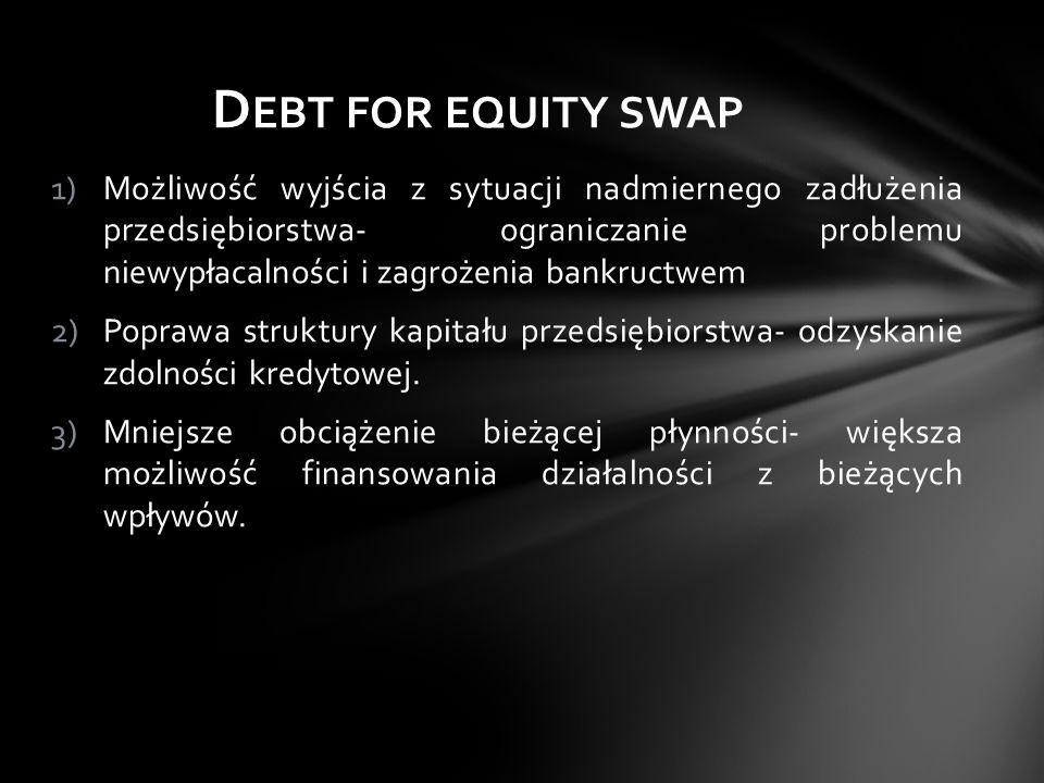 1)Możliwość wyjścia z sytuacji nadmiernego zadłużenia przedsiębiorstwa- ograniczanie problemu niewypłacalności i zagrożenia bankructwem 2)Poprawa stru