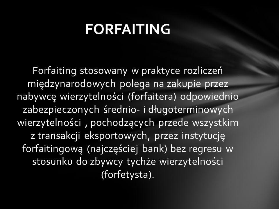 Forfaiting stosowany w praktyce rozliczeń międzynarodowych polega na zakupie przez nabywcę wierzytelności (forfaitera) odpowiednio zabezpieczonych śre