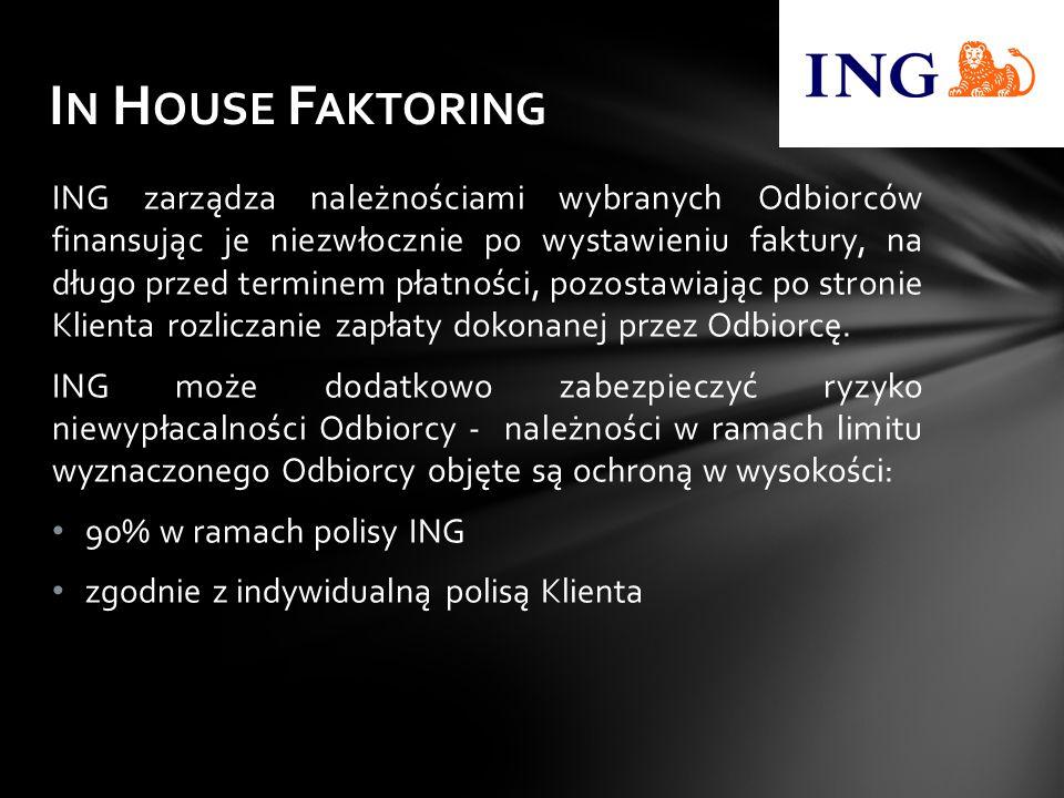 ING zarządza należnościami wybranych Odbiorców finansując je niezwłocznie po wystawieniu faktury, na długo przed terminem płatności, pozostawiając po