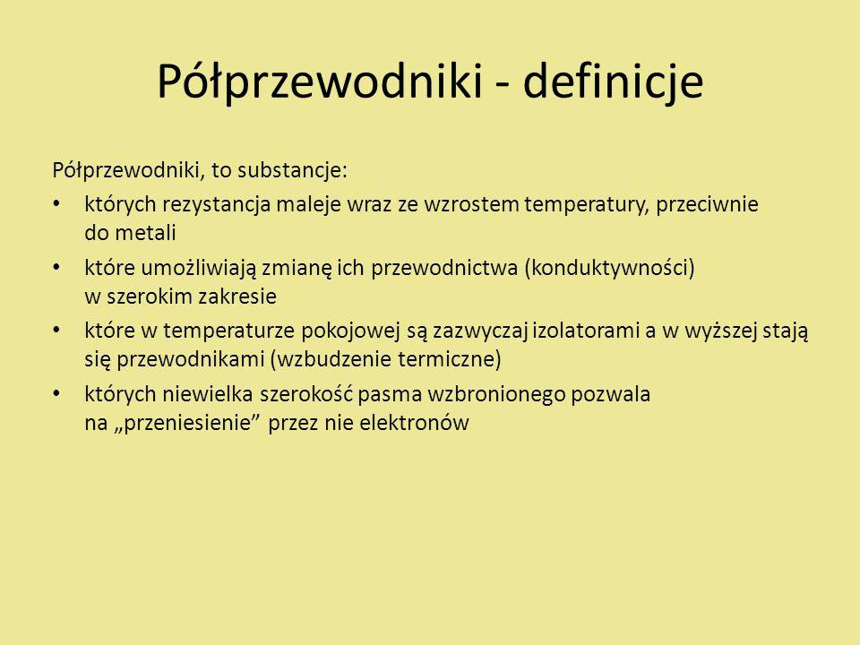 """Półprzewodniki - definicje Półprzewodniki, to substancje: których rezystancja maleje wraz ze wzrostem temperatury, przeciwnie do metali które umożliwiają zmianę ich przewodnictwa (konduktywności) w szerokim zakresie które w temperaturze pokojowej są zazwyczaj izolatorami a w wyższej stają się przewodnikami (wzbudzenie termiczne) których niewielka szerokość pasma wzbronionego pozwala na """"przeniesienie przez nie elektronów"""