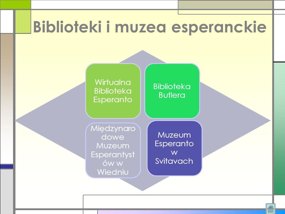 Biblioteki i muzea esperanckie Wirtualna Biblioteka Esperanto Biblioteka Butlera Międzynaro dowe Muzeum Esperantyst ów w Wiedniu Muzeum Esperanto w Sv