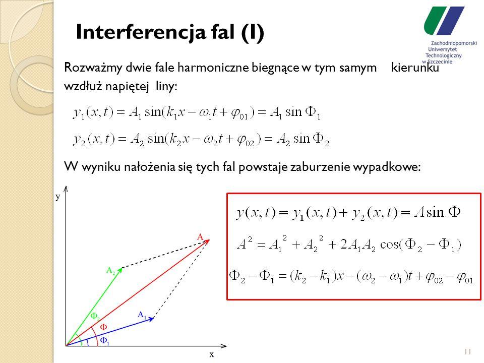 11 Interferencja fal (I) Rozważmy dwie fale harmoniczne biegnące w tym samym kierunku wzdłuż napiętej liny: W wyniku nałożenia się tych fal powstaje z