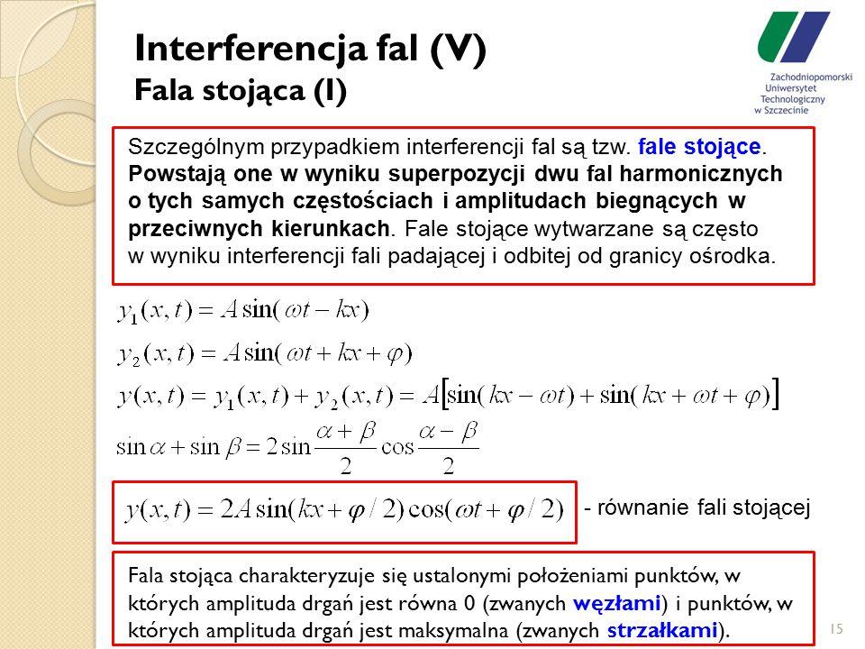 Interferencja fal (V) Fala stojąca (I) 15 Szczególnym przypadkiem interferencji fal są tzw. fale stojące. Powstają one w wyniku superpozycji dwu fal h