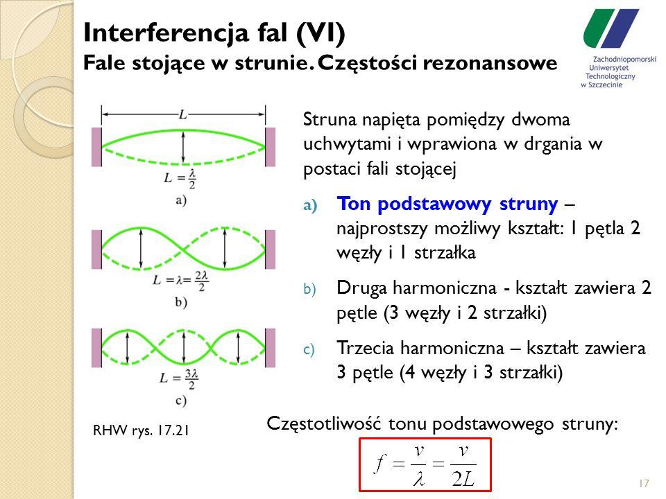 17 Struna napięta pomiędzy dwoma uchwytami i wprawiona w drgania w postaci fali stojącej a) Ton podstawowy struny – najprostszy możliwy kształt: 1 pęt
