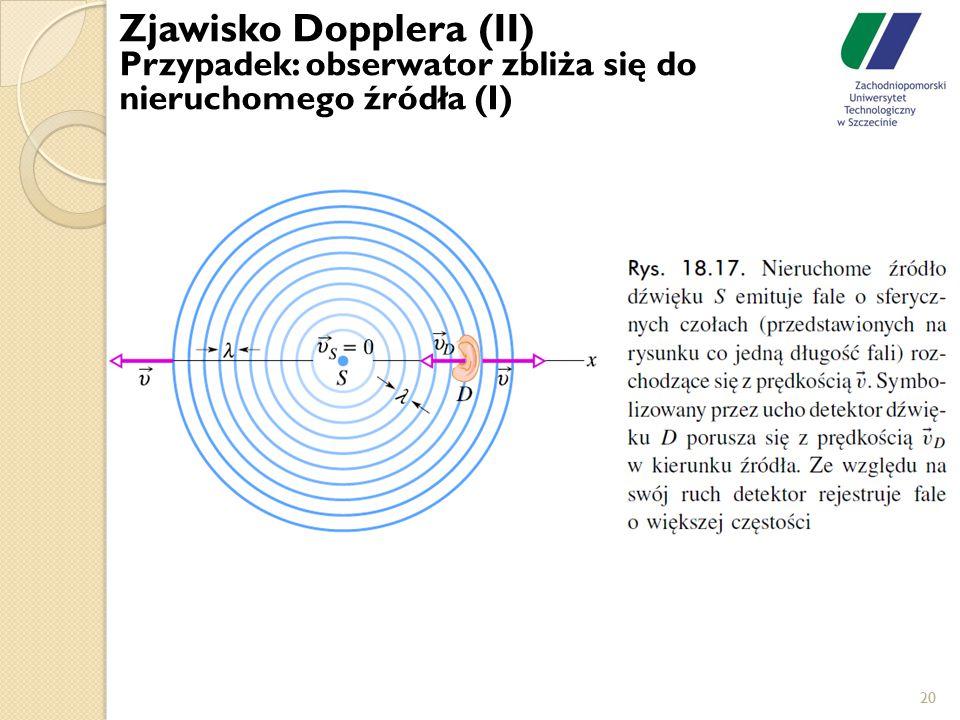 20 Zjawisko Dopplera (II) Przypadek: obserwator zbliża się do nieruchomego źródła (I)