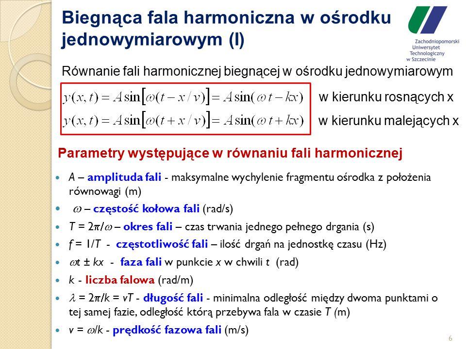 6 Biegnąca fala harmoniczna w ośrodku jednowymiarowym (I) Równanie fali harmonicznej biegnącej w ośrodku jednowymiarowym A – amplituda fali - maksymal