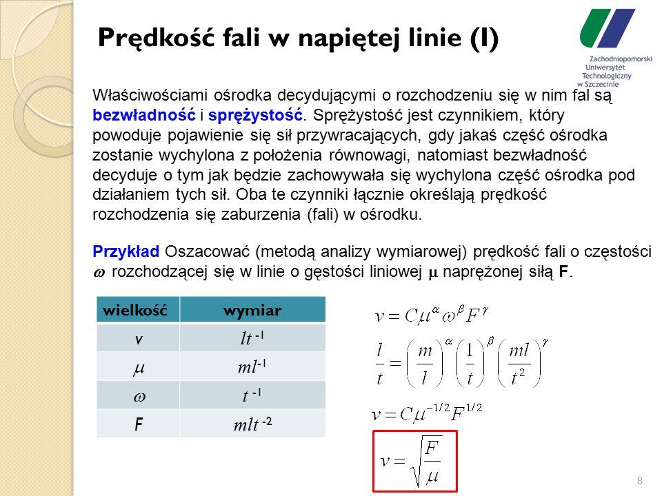Prędkość fali w napiętej linie (I) 8 Przykład Oszacować (metodą analizy wymiarowej) prędkość fali o częstości  rozchodzącej się w linie o gęstości