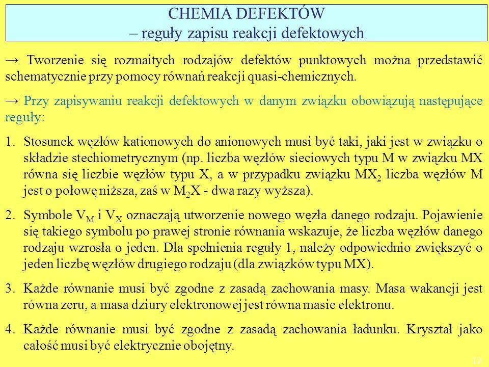 → Tworzenie się rozmaitych rodzajów defektów punktowych można przedstawić schematycznie przy pomocy równań reakcji quasi-chemicznych. → Przy zapisywan