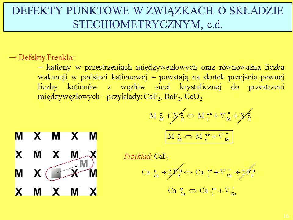 → Defekty Frenkla:  kationy w przestrzeniach międzywęzłowych oraz równoważna liczba wakancji w podsieci kationowej  powstają na skutek przejścia pew