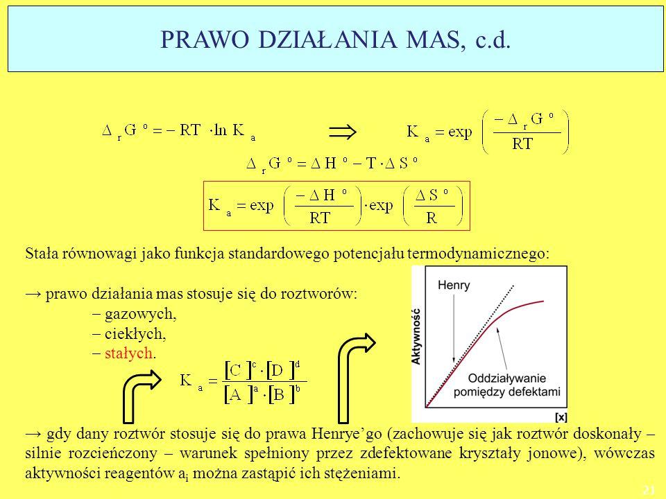 Stała równowagi jako funkcja standardowego potencjału termodynamicznego: → prawo działania mas stosuje się do roztworów:  gazowych,  ciekłych,  sta