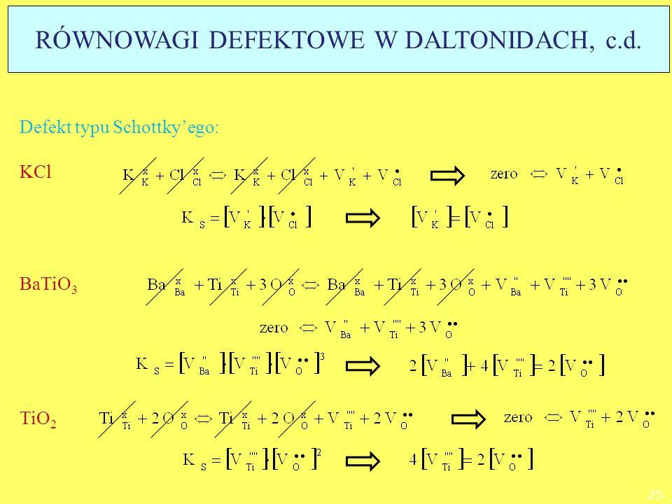 Defekt typu Schottky'ego: KCl BaTiO 3 TiO 2 25 RÓWNOWAGI DEFEKTOWE W DALTONIDACH, c.d.