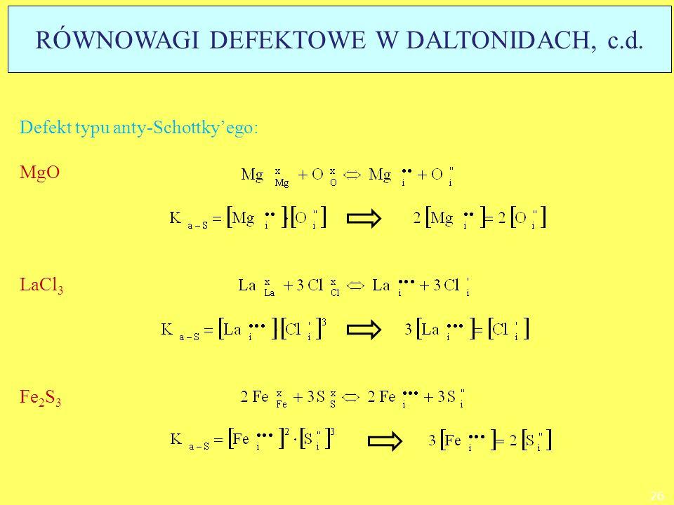 Defekt typu anty-Schottky'ego: MgO LaCl 3 Fe 2 S 3 26 RÓWNOWAGI DEFEKTOWE W DALTONIDACH, c.d.