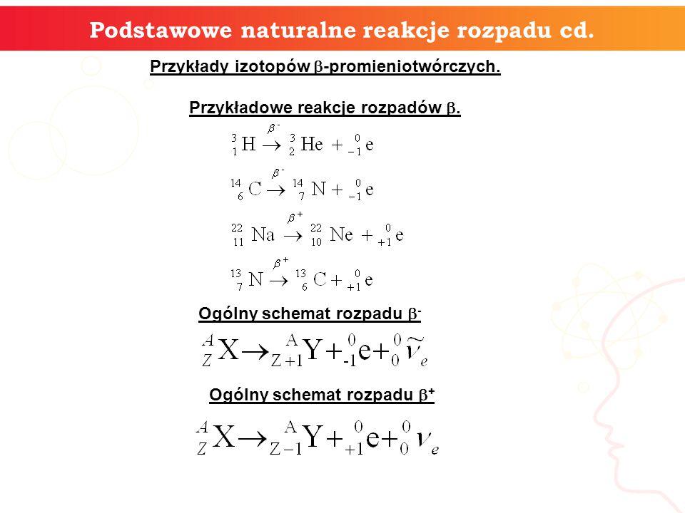 9 Podstawowe naturalne reakcje rozpadu cd.C) Rozpad i promieniowanie .