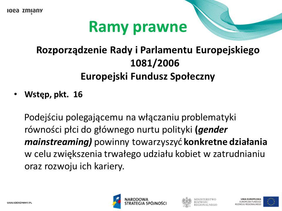 Ramy prawne Rozporządzenie Rady i Parlamentu Europejskiego 1081/2006 Europejski Fundusz Społeczny Wstęp, pkt. 16 Podejściu polegającemu na włączaniu p