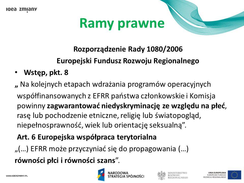"""Ramy prawne Rozporządzenie Rady 1080/2006 Europejski Fundusz Rozwoju Regionalnego Wstęp, pkt. 8 """" Na kolejnych etapach wdrażania programów operacyjnyc"""