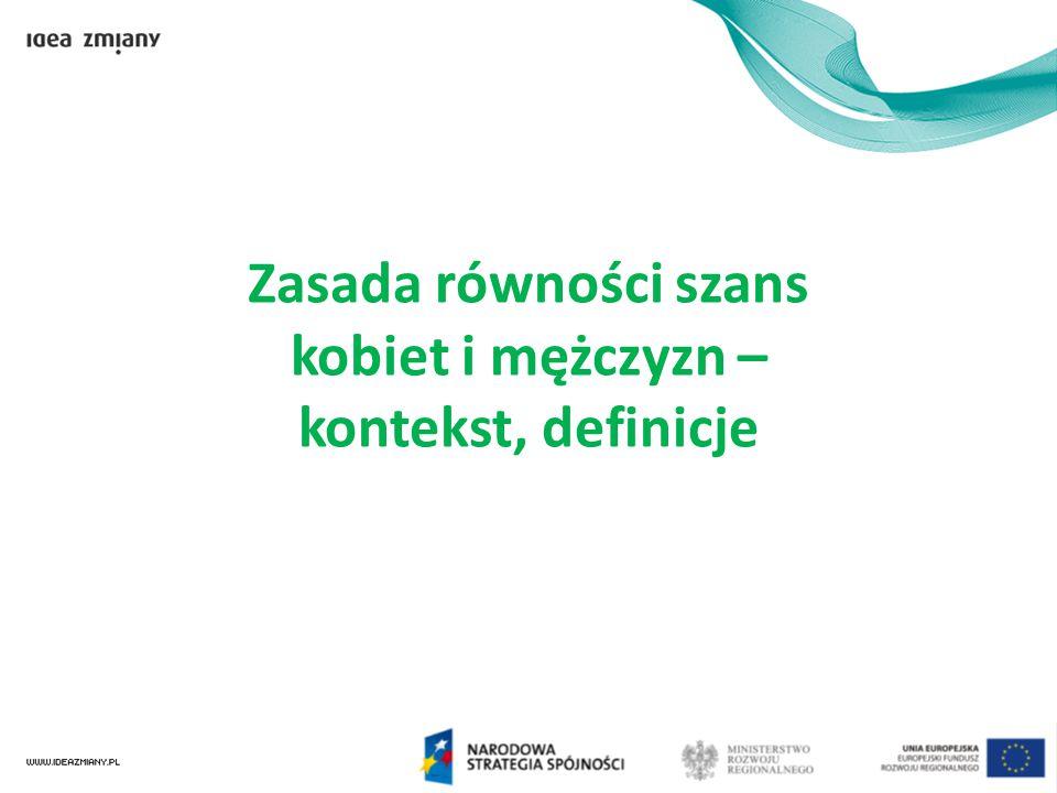 Nastawienie do równouprawnienia Boom edukacyjny wśród kobiet Zmiana postaw 25-30latków – pokolenie Y Zmiany globalne Starzenie się społeczeństw w Europie i Polsce Spadek liczby urodzeń Wzrost migracji pracowników Zmiany demograficzne Prawo pracy i mechanizmy antydyskryminacyjne Wykluczanie osób 45+ Zmiany na rynku pracy Zmiany – konieczność polityki równości