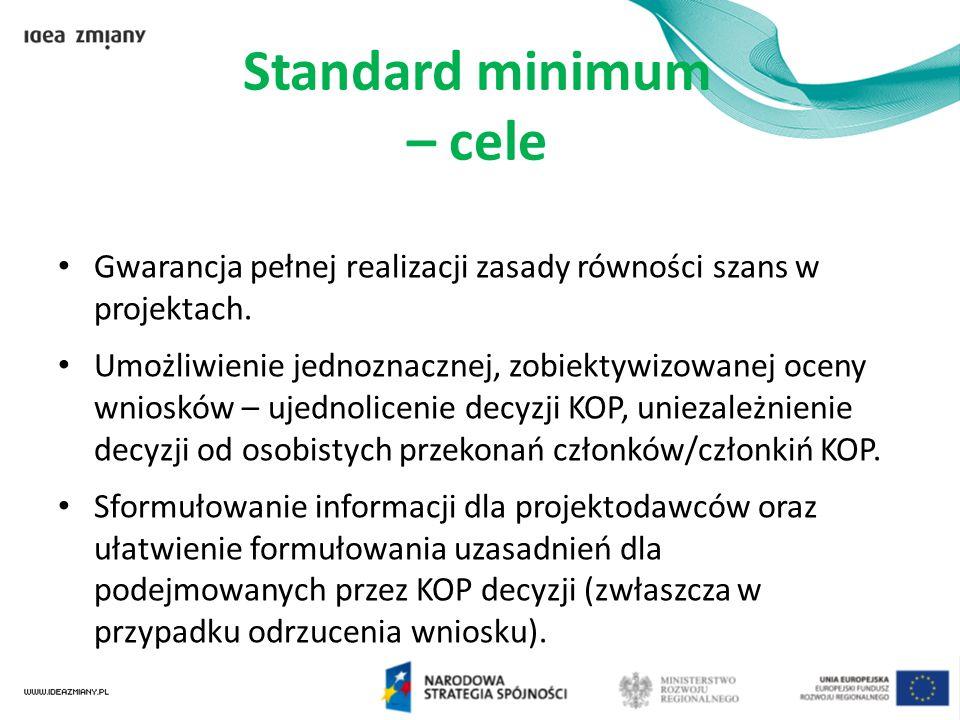 Standard minimum – cele Gwarancja pełnej realizacji zasady równości szans w projektach. Umożliwienie jednoznacznej, zobiektywizowanej oceny wniosków –