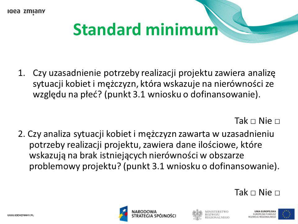 Standard minimum 1.Czy uzasadnienie potrzeby realizacji projektu zawiera analizę sytuacji kobiet i mężczyzn, która wskazuje na nierówności ze względu
