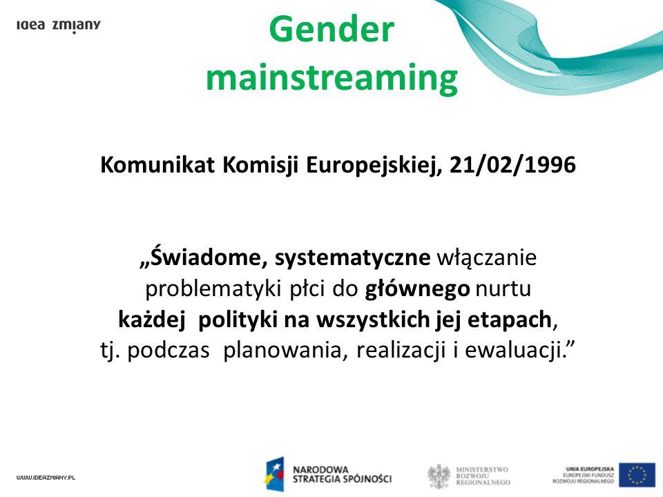 """Gender mainstreaming Komunikat Komisji Europejskiej, 21/02/1996 """"Świadome, systematyczne włączanie problematyki płci do głównego nurtu każdej polityki"""