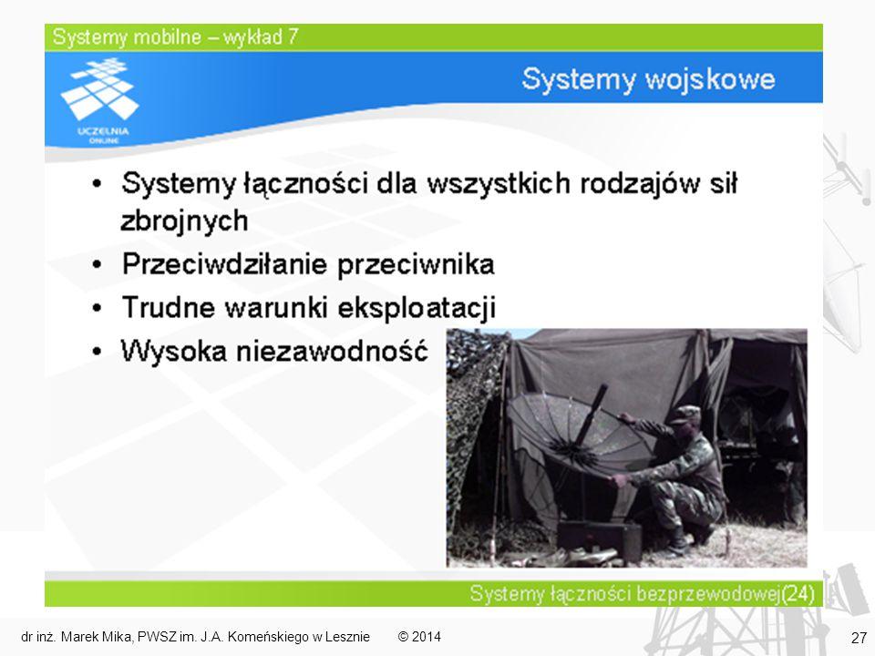 © 2014dr inż. Marek Mika, PWSZ im. J.A. Komeńskiego w Lesznie 27