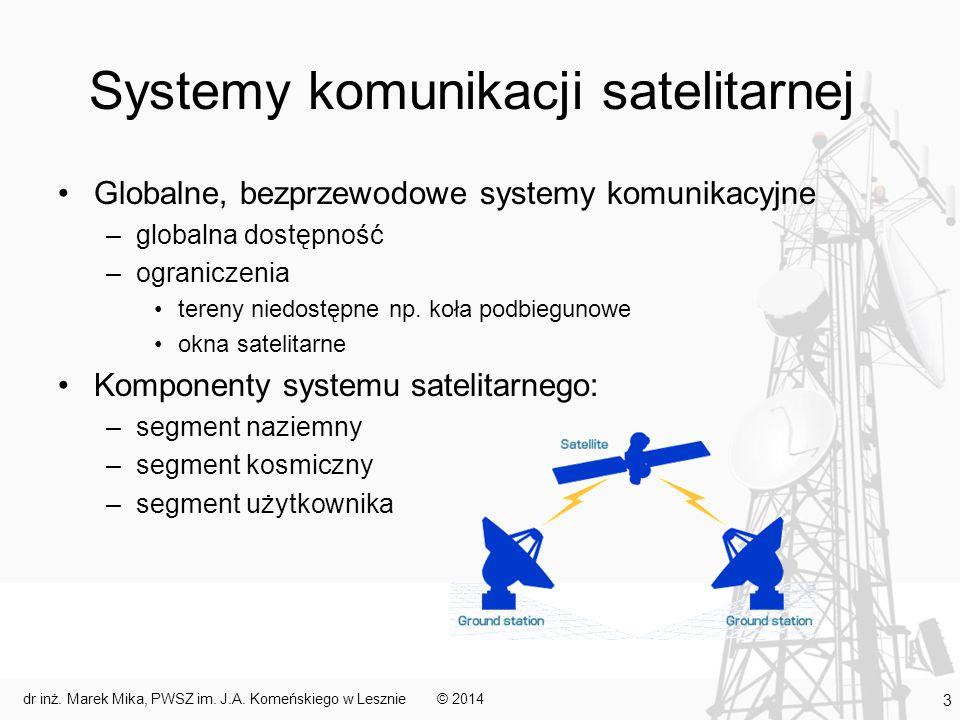Systemy geostacjonarne Satelity geostacjonarne – stałe ustawienie względem Ziemi –ciągłe monitorowanie pozycji satelity –nadążne korygowanie położenia stacje naziemne wysyłają odpowiednie komunikaty satelita za pomocą silników korekcyjnych poprawia swoje ustawienie ze względu na ograniczone zasoby energetyczne czynności tej nie można powtarzać zbyt często, bo skróciłoby to cykl życia satelity –dwie siły oddziałowujące na satelitę (muszą się równoważyć) ciężkości odśrodkowa –umieszczenie na orbicie kołowej w płaszczyźnie równika na wysokości ok.