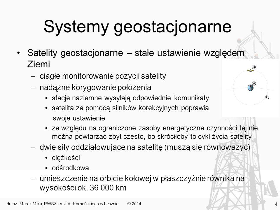 Geostacjonarne systemy satelitarne Zalety: –łatwość śledzenia satelity (znana pozycja) –stała widzialność satelity z danego miejsca –duża wysokość toru lotu skutkuje dużym zasięgiem (3 satelity pokrywają cały obszar kuli ziemskiej do 75 równoleżnika) –ewentualne dodatkowe satelity zwiększają pojemność systemu w miejscach o intensywniejszym ruchu –niższy koszt w porównaniu do systemów niegeostacjonarnych (głównie ze względu na mniejszą liczbę satelitów) © 2014dr inż.