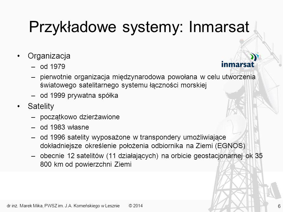 Przykładowe systemy: Inmarsat Organizacja –od 1979 –pierwotnie organizacja międzynarodowa powołana w celu utworzenia światowego satelitarnego systemu