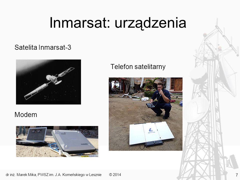 Inmarsat: usługi Inmarsat-A – telefonia, teleks, faks, system alarmowy – kanał analogowy 9,6-64 kbit/s (usługa wycofana w 2007) Inmarsat B – to samo co w Inmarsat-A, ale w oparciu o transmisję cyfrową Inmarsat-C – kanał asynchroniczny na potrzeby komunikacji e-mail, teleks, informacje o bezpieczeństwie na morzu (GMDSS) Inmarsat-D+ – podobna funkcjonalność do Inmarsat-C, ale mniejsza prędkość transmisji Inmarsat E/E+ – przeznaczony do odbioru wezwań wysyłanych przez radiopławy EPRIB (usługa wstrzymana od 2006) Inmarsat-M – komunikacja głosowa, faksowa i wysyłanie informacji z prędkością 2,4-4,8 kbit/s Inmarsat-Mini-M – ta sama funkcjonalność, mniejszy zasięg terytorialny (spot beam w miejsce global beam) Inmarsat-Fleet – grupa sieci przesyłających różnego typu informacje za pośrednictwem różnych łącz (od głosowych po ISDN) inne © 2014dr inż.