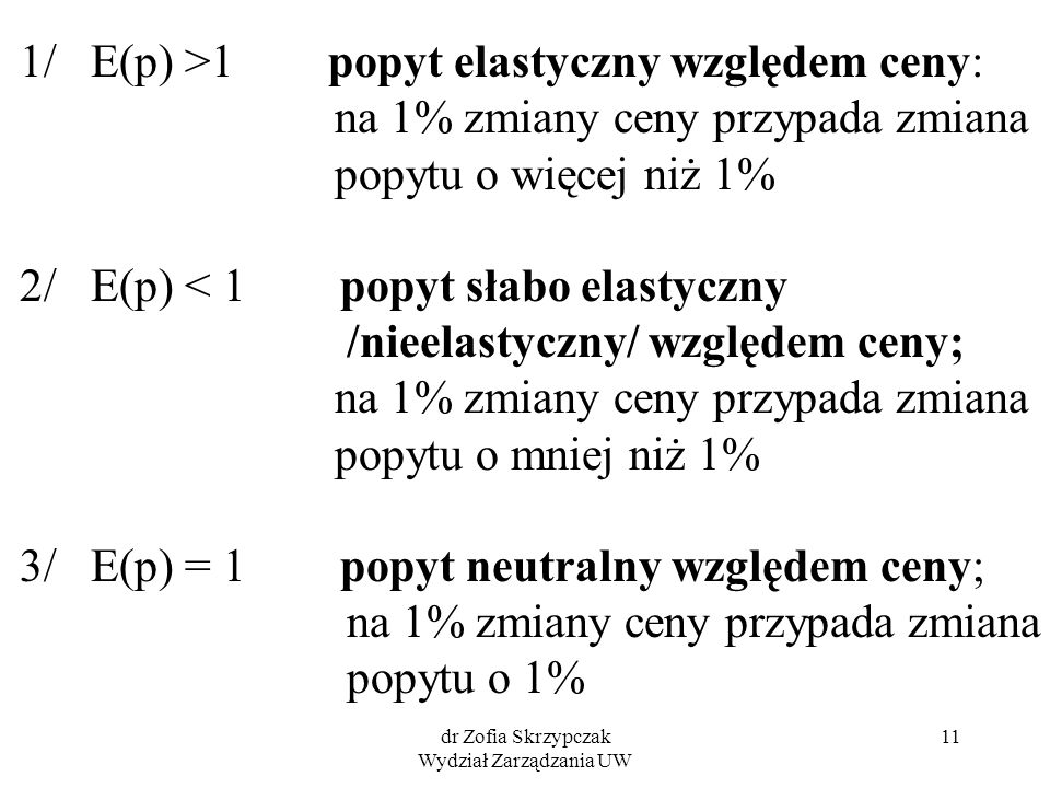 dr Zofia Skrzypczak Wydział Zarządzania UW 11 1/ E(p) >1 popyt elastyczny względem ceny: na 1% zmiany ceny przypada zmiana popytu o więcej niż 1% 2/ E