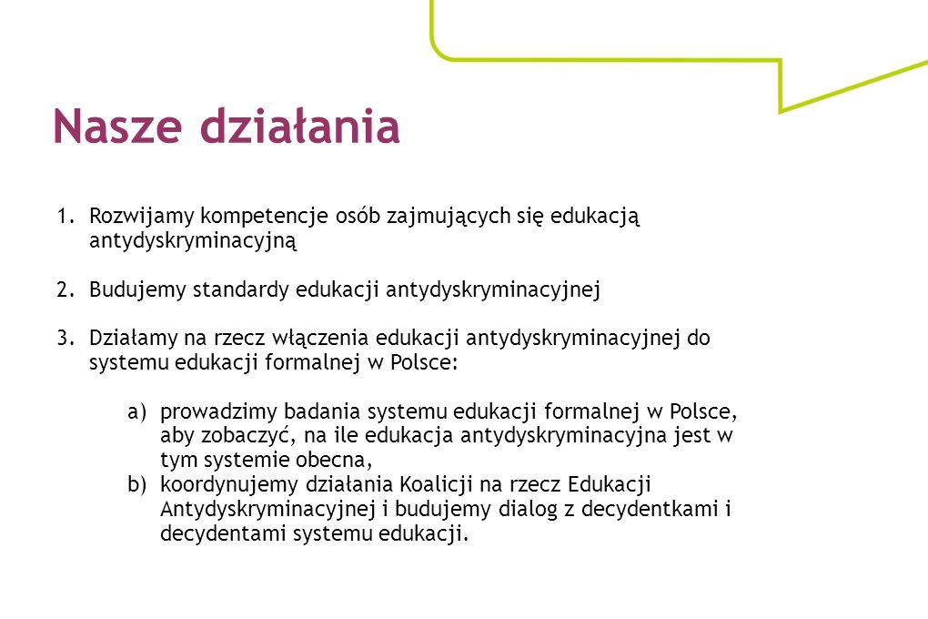 1.Rozwijamy kompetencje osób zajmujących się edukacją antydyskryminacyjną 2.Budujemy standardy edukacji antydyskryminacyjnej 3.Działamy na rzecz włącz