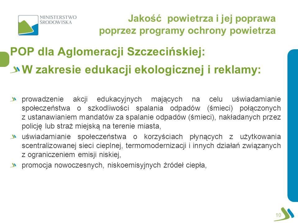 Jakość powietrza i jej poprawa poprzez programy ochrony powietrza POP dla Aglomeracji Szczecińskiej: W zakresie edukacji ekologicznej i reklamy: prowadzenie akcji edukacyjnych mających na celu uświadamianie społeczeństwa o szkodliwości spalania odpadów (śmieci) połączonych z ustanawianiem mandatów za spalanie odpadów (śmieci), nakładanych przez policję lub straż miejską na terenie miasta, uświadamianie społeczeństwa o korzyściach płynących z użytkowania scentralizowanej sieci cieplnej, termomodernizacji i innych działań związanych z ograniczeniem emisji niskiej, promocja nowoczesnych, niskoemisyjnych źródeł ciepła, 10