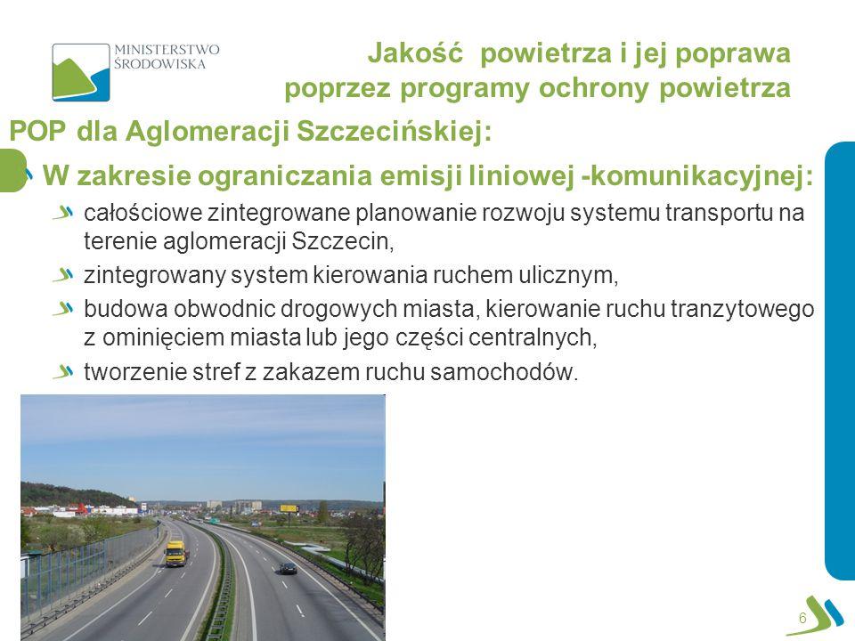 Jakość powietrza i jej poprawa poprzez programy ochrony powietrza POP dla Aglomeracji Szczecińskiej: W zakresie ograniczania emisji liniowej -komunikacyjnej: całościowe zintegrowane planowanie rozwoju systemu transportu na terenie aglomeracji Szczecin, zintegrowany system kierowania ruchem ulicznym, budowa obwodnic drogowych miasta, kierowanie ruchu tranzytowego z ominięciem miasta lub jego części centralnych, tworzenie stref z zakazem ruchu samochodów.