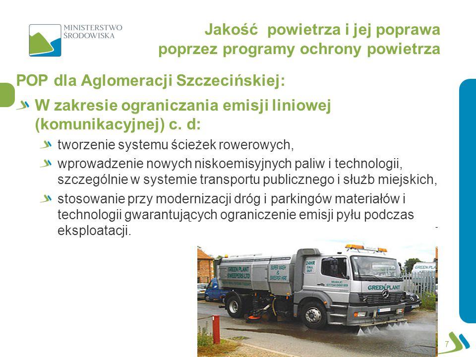 Jakość powietrza i jej poprawa poprzez programy ochrony powietrza POP dla Aglomeracji Szczecińskiej: W zakresie ograniczania emisji z istotnych źródeł punktowych – energetyczne spalanie paliw: ograniczenie wielkości emisji pyłu zawieszonego PM10 poprzez optymalne sterowanie procesem spalania i podnoszenie sprawności procesu produkcji energii, zmiana paliwa na inne, o mniejszej zawartości popiołu, stosowanie technik gwarantujących zmniejszenie emisji substancji do powietrza, stosowanie technik odpylania spalin o dużej efektywności, zmniejszenie strat przesyłu energii, likwidacja źródeł emisji; 8