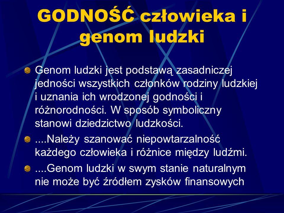 GODNOŚĆ człowieka i genom ludzki Genom ludzki jest podstawą zasadniczej jedności wszystkich członków rodziny ludzkiej i uznania ich wrodzonej godności