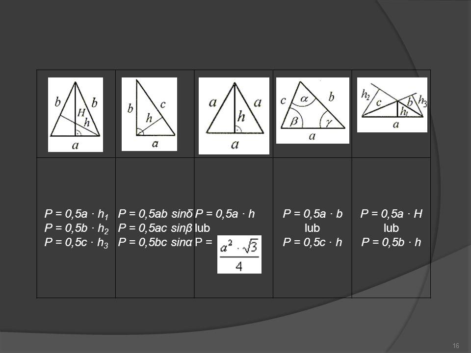 16 P = 0,5a · h 1 P = 0,5b · h 2 P = 0,5c · h 3 P = 0,5ab sinδ P = 0,5ac sinβ P = 0,5bc sinα P = 0,5a · h lub P = P = 0,5a · b lub P = 0,5c · h P = 0,