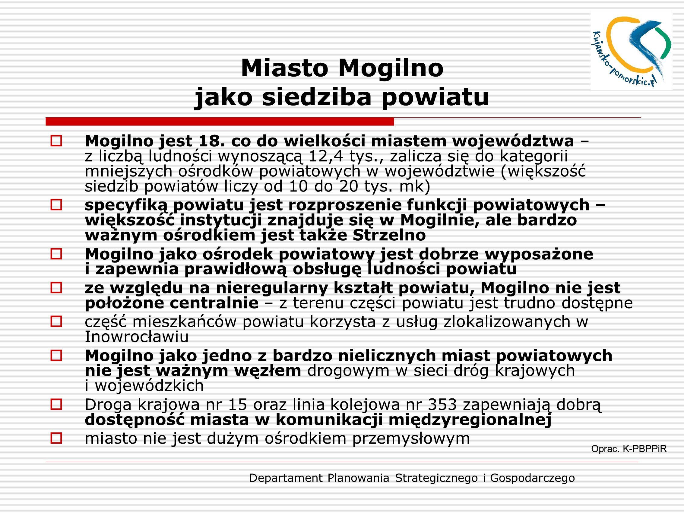 Departament Planowania Strategicznego i Gospodarczego Miasto Mogilno jako siedziba powiatu Oprac. K-PBPPiR  Mogilno jest 18. co do wielkości miastem