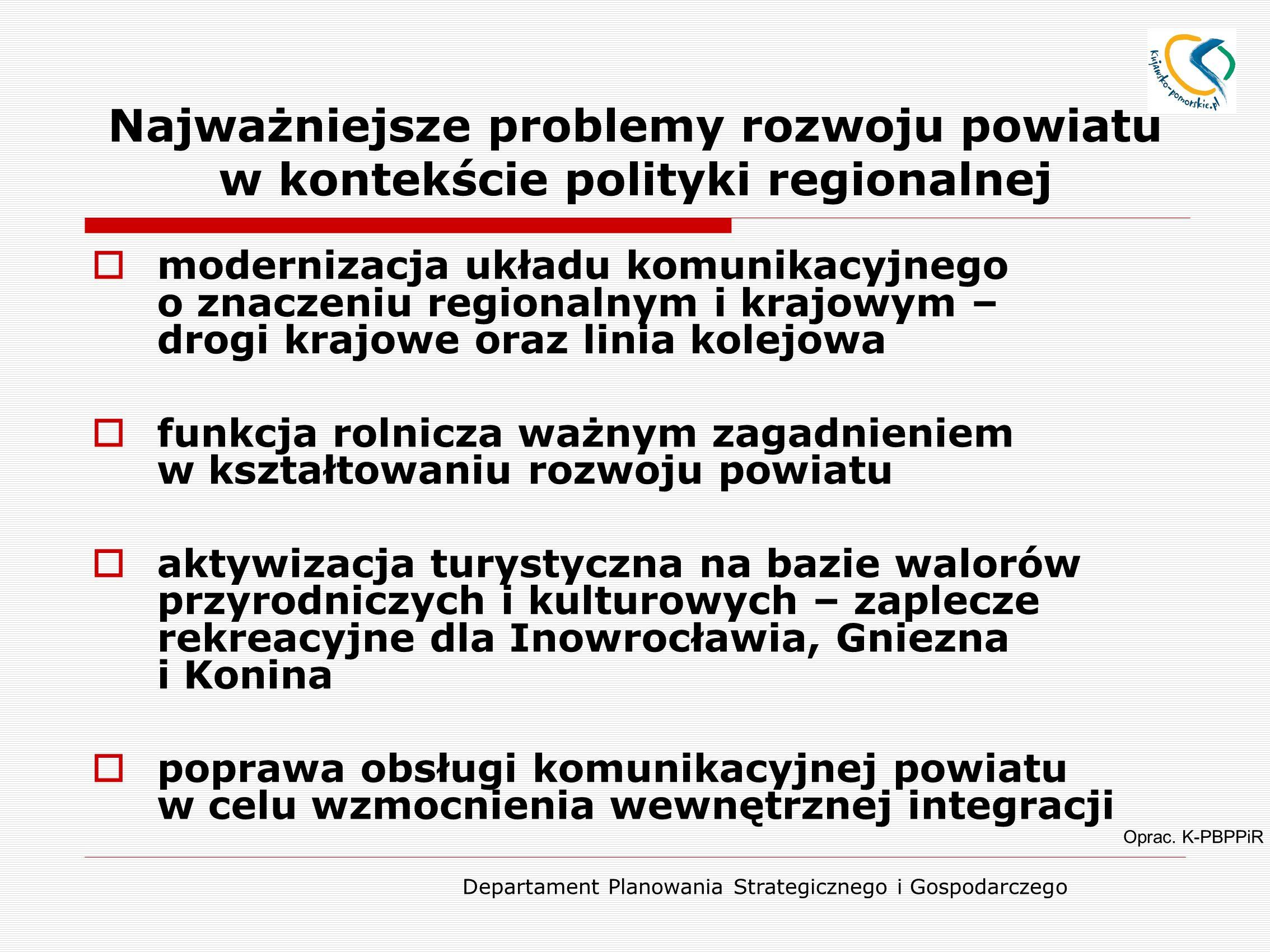 Departament Planowania Strategicznego i Gospodarczego Najważniejsze problemy rozwoju powiatu w kontekście polityki regionalnej Oprac. K-PBPPiR  moder